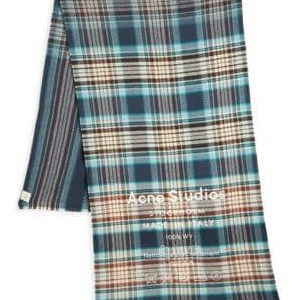 ACNE JEANS Cassiar Check Scarf, Navy/white