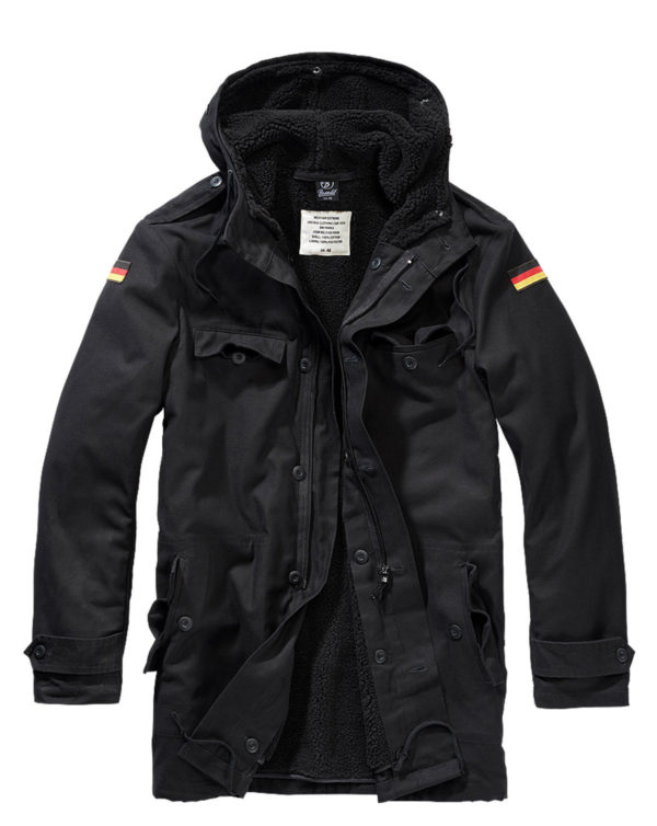 Brandit BW Parka m. Flag (Sort, 6XL)